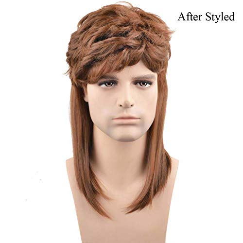 BERON 16'' New Stylish Men's Mullet Wig Costume Disco Party Synthetic Wigs Hairnet Included (Brown)