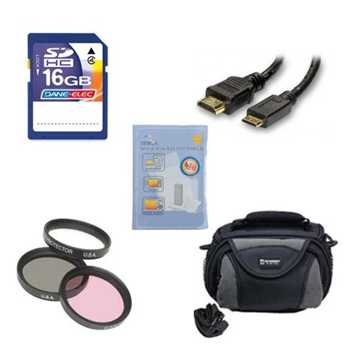 Panasonic HC-V750K Camcorder Accessory Kit includes: SD4/16GB Memory Card, SDC-26 Case, GBFLK49 Filter, HDMI6FM AV & HDMI Cable, ZELCKSG Care & Cleaning by Synergy Digital