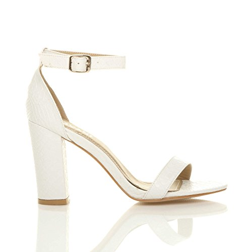 High Size White Sandals Heel Ajvani Block Snake Women Strappy x6EwZ0Yq