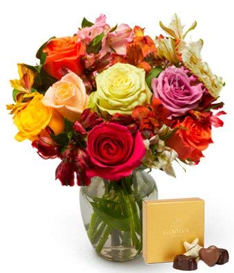 (Flowers - Roses & Alstros & Godiva Bundle (Free Vase)