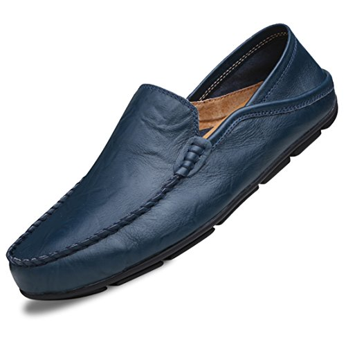(Go Tour Men's Premium Genuine Leather Casual Slip On Loafers Breathable Driving Shoes Fashion Slipper Blue 46)