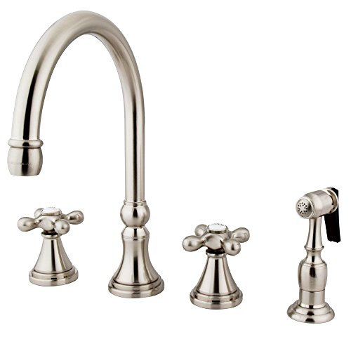 Kingston Brass KS2798AXBS Governor Deck Mount Kitchen Faucet with Brass Sprayer, 8-1/4-Inch, Brushed Nickel
