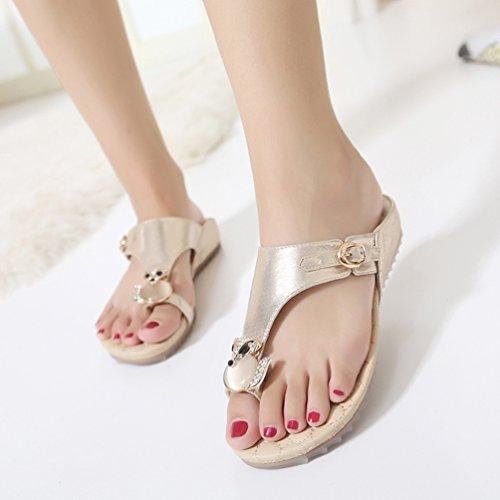 Mocasines Bohemia Bohemia Clip Mujeres Toe Sandalias Sandalias Mujer Mujer Casuales Calzado Plano Playa de Dulce Zapatos Sandalias de Verano de Moda Chanclas Global TT Romanas Gold de zvqwp4