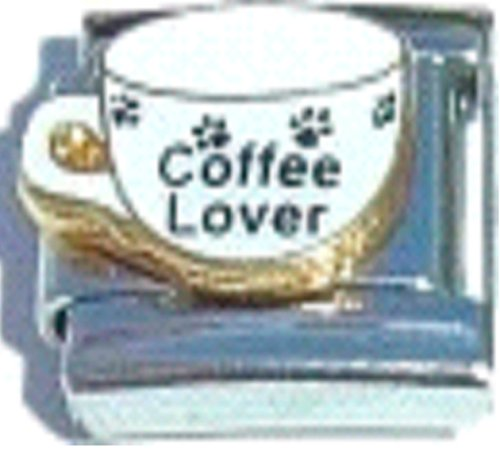Stylysh Charms Coffee Lover Cappuccino Latte Paws Enamel Italian 9mm Link FO007