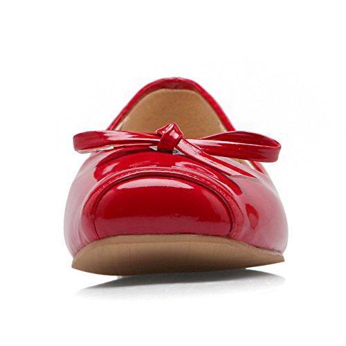 AllhqFashion Damen Blend-Materialien Niedriger Absatz Quadratisch Zehe Rein Ziehen auf Pumps Schuhe Rot