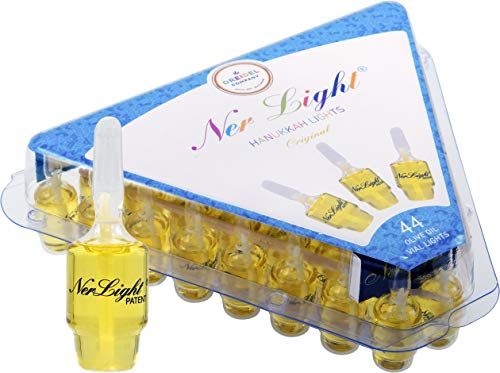 Pre-Filled Oil Hanukkah Menorah Oil Glass Cup Candles Ner Light Chanukah Oil Cups 44 Original 100 Percent  Olive Oil Cups (Large Oil Menorah)