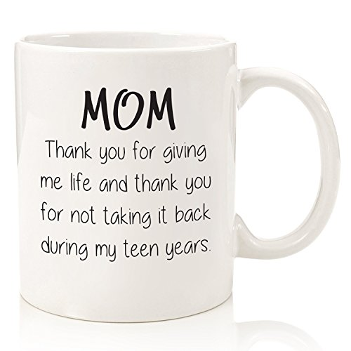 Gifts For Mom - Funny Mug: Thank You For Giving Me Life - Best Mom Gifts - Unique Mothers Day Present Idea For Her From Daughter, Son - Gag Birthday Gifts For Moms, Women - Fun Novelty Coffee Cup
