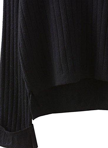 futurino básica de la mujer color sólido cuello en V Knit Pullover Jersey de gran tamaño negro