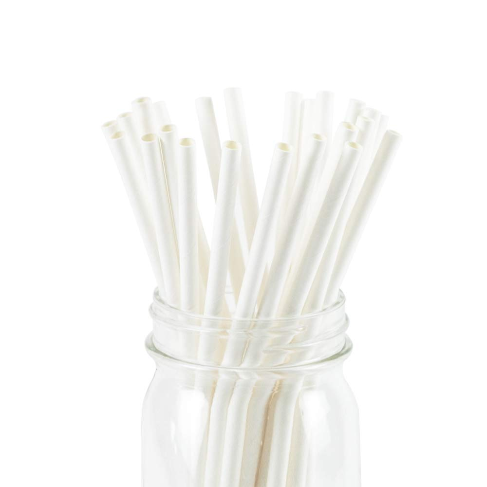 White Paper Straws Biodegradable Disposable Party Decoration and Party Drinking Straws 25 Count for Wedding, Birthday Party or any Themed Party (White-25)