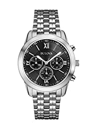 Bulova 96A175 Men's Stainless Steel Watch with Black Dial