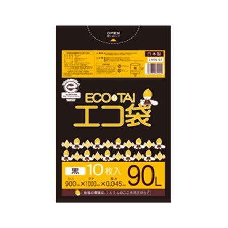 サンキョウプラテック エコ袋 90L 0.045厚 黒 10枚入×30冊 LMN-92 B077YTTJG5 厚さ0.045mm|ブラック ブラック 厚さ0.045mm