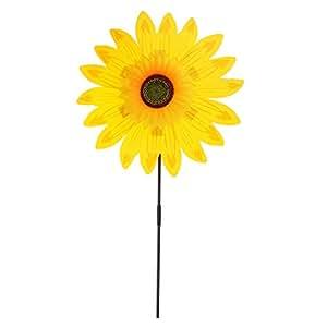MagiDeal 36cm DIY Sunflower Windmill Wind Rotator Pinwheel Kid Outdoor Playground Toy Garden Lawn Decoration Kits - Yellow, as described