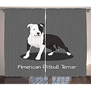 Ambesonne Pitbull Curtains, American Pitbull Terrier Pet Cartoon Illustration Graphic Design on Grey Background, Living Room Bedroom Window Drapes 2 Panel Set, 108 W X 108 L Inches, Multicolor 1