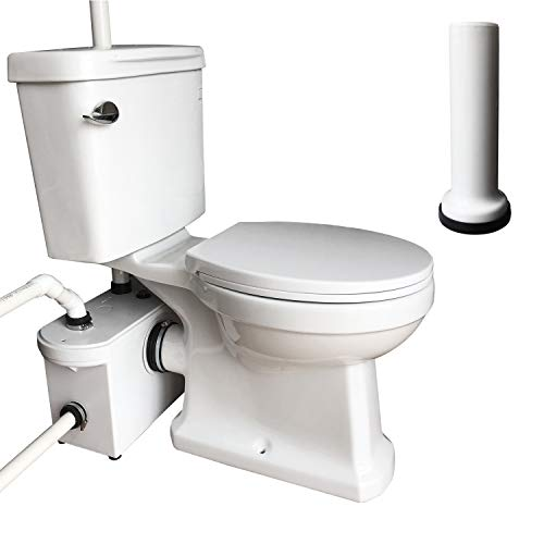 INTELFLO 600 Watt Upflush Toilet with Macerator Pump Kit, 3 Piece Set with Extension Pipe Between Toilet and Macerator, Elongated Bowl White Finish