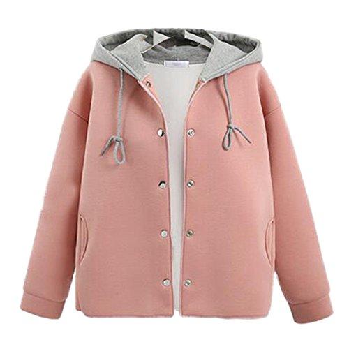 Bump DYF Long COAT Coat Single Pink Pocket Hat row XXXXL buckle sleeve FYM Baseball Color twBq5wR