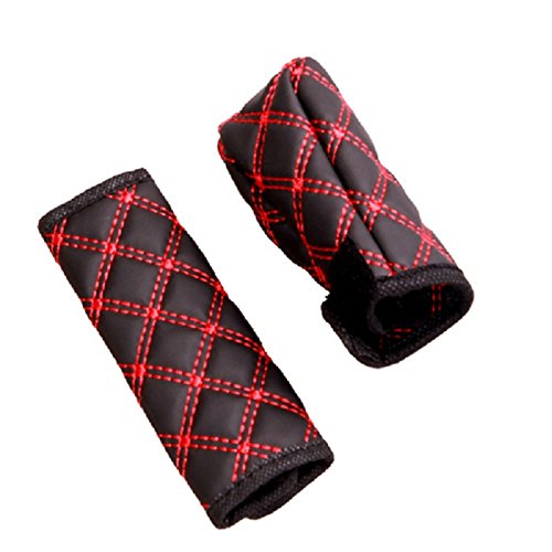 Aumo-mate PU Auto Handbrake Brake Gear Cover Sleeve Set Car Interior Accessories 95cm&13.5cm (Red)
