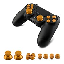 kwmobile Aluminium Keys for Playstation 4 Dualshock in gold - 4 Action keys 2 Thumbsticks 1 Directional Pad