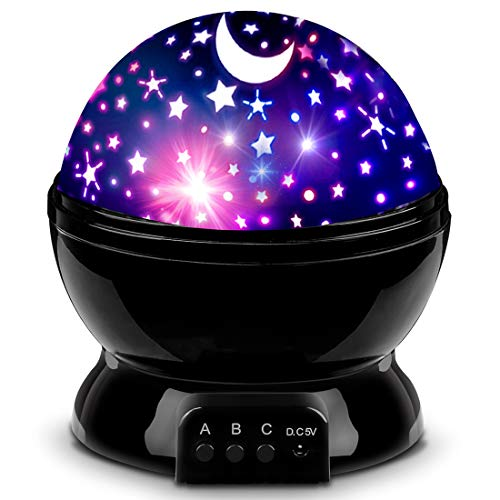 Night Lighting Lamp [ 4 LED Beads, 3 Model Light, 4.9 FT(1.5 M) USB Cord ] Romantic Rotating Cosmos Star Sky Moon Projector, Rotation Night Projection for Children Kids Bedroom