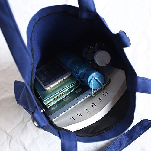Stampa Tela Bag Quotidiani Viaggi Canvas Borsa Blue A La Shopping yellow Scuola Capacità Grande Borsa Ynnb Ladies Lettera E Semplice Tempo Tracolla Lavoro Per Libero Regolabile a18qx80Eg