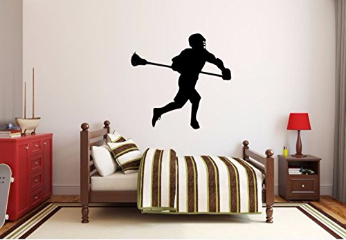 Silhouette Vinyl Wall - Lacrosse Player Wall Decal - Lacrosse Player Silhouette Vinyl Decal - Lacrosse Player 2 (16h x 17w inches)