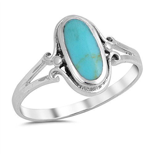 (Oval Simulated Turquoise Center Split Shank Design Ring 925 Sterling Silver Size 5 )
