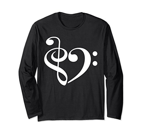 Treble Clef and Bass Clef Musical Heart Music Lover Long Sleeve T-Shirt