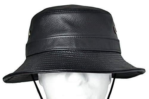 Emstate Black Cowhide Leather Bucket Hat Made in USA (Siena Hat)