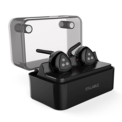 Syllable Wireless Earbuds with Mic, Sports Headphones Earphones with Charging Box for Running- Black
