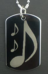 Musical Note Dog tag Pendant Necklace