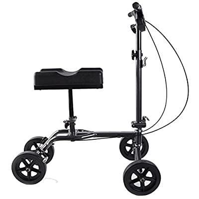 TARAXACUM Medical Knee Roller Walker Foldable Rolling Knee Walker Scooter Crutch Alternative All Terrain with Pad Cover Basket and Cell Phone Holder and Adjustable Flashlight (Sliver Black )