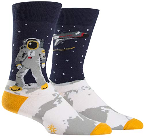 Sock It to Me, One Giant Leap, Men's Crew Socks, Outer Space, Astronaut Socks]()