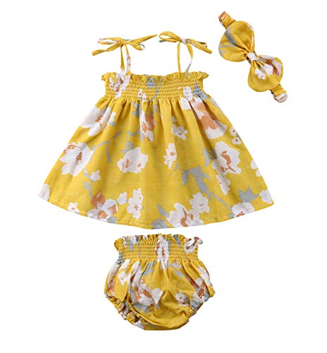 Newborn Baby Girl Floral Summer Dress Tops+Tutu Shorts Pants+Headband 3Pcs Outfits Clothes Sunsuit Yellow (Yellow, 0-6 Months)