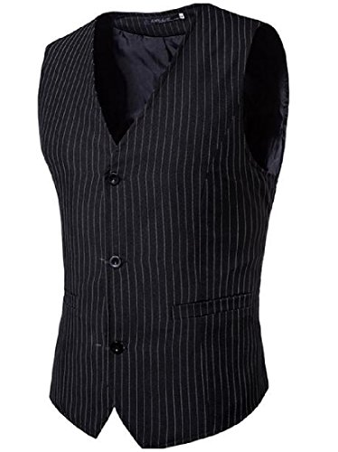 Cheap SummerMen Summer Mens Striped Adjustable Back Buckle Print Single Breasted Splice Vest
