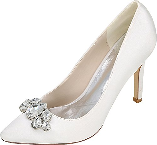 CFP 0608-01B Womens Cour Rhinestone Fashion Shoes Bride Comfort Work Wedding Job Nightclub Pointed Toe Heeled Satin White