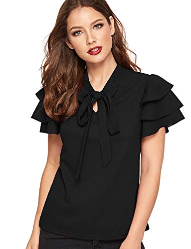 Romwe Women's Solid Bow Tie Neck Layered Short Sleeve Elegant Summer Blouse Tops Black S