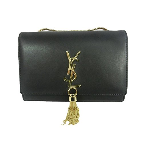 Black Leather Bag Gold Chain - 5