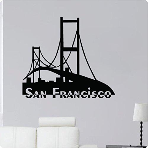 San Francisco Golden Gate Bridge Cityscape Sky Silhoutte Wall Decal Sticker Art Home Décor