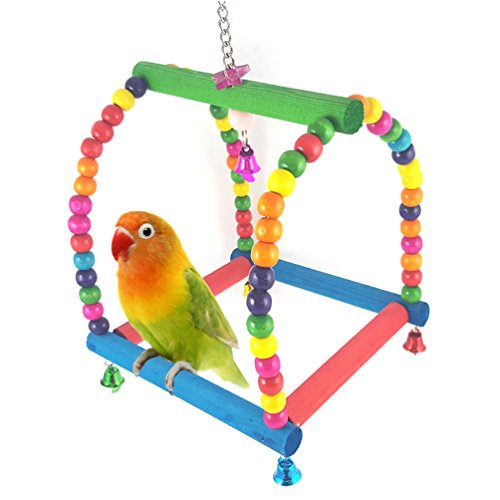 Finch Station (Colorful Small Bird Swing Toys with Bells for Parakeet Cockatiel Finch Lovebird Budgie Bird Perch Station Rack Parrot Cage Accessories)
