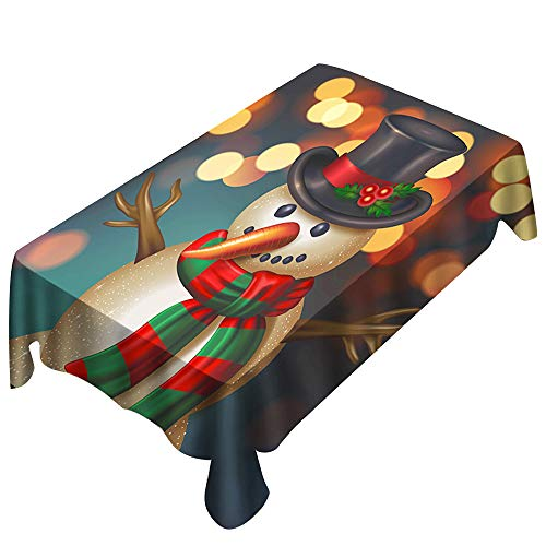 Vacally Christmas Tablecloths for Kitchen Dining Table Decor Rectangle Table Cover 3D Snowman Pattern Dining Room Restaurant Tables Decorations 150x300cm/150X260cm/150 x 210 -
