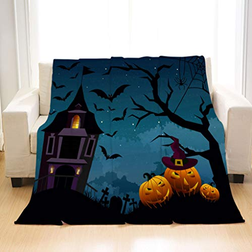 Soft Stylish Flannel Blankets Vector illustration of Halloween background with silhouettes of pumpkins and terrible house or castle in the cemetery on dark blue Soft All Seasons Sleeping Blankets]()
