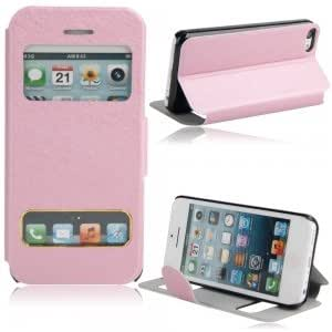 Silk Style Flip-open Protective Case w/ Double holes for iPhone 5C Pink