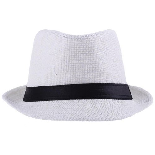 EOZY White Fedora Trilby Gangste Summer Beach Sun PP Braid Straw Panama Hat