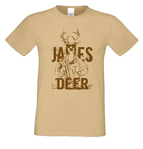 Wiesn T-Shirt - Cooler Hirsch James Deer braun Shirt Farbe sand - Funshirt für's Oktoberfest statt Lederhose und Dirndl
