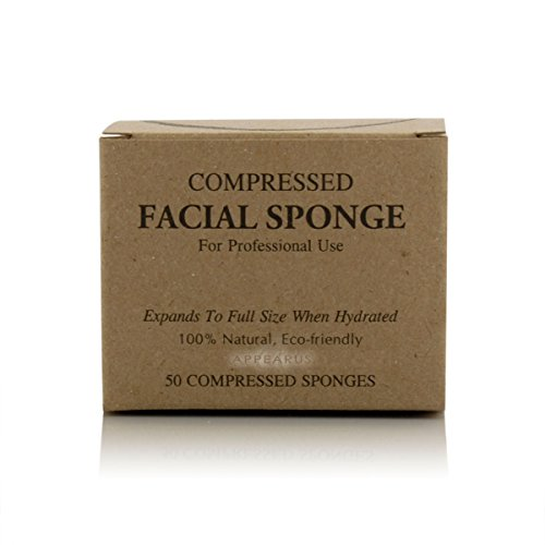 Appearus Compressed Natural Cellulose Facial Sponges, White (50 Count)