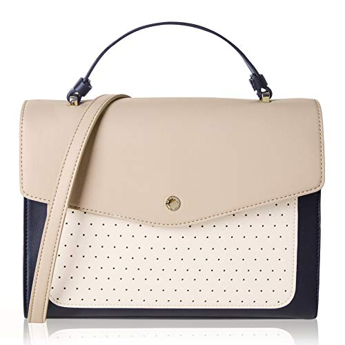 - The Lovely Tote Co. Women's Perforated Satchel Bag Flap Closure Cross-body Purse,One,Beige