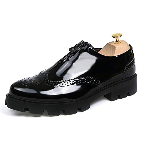 HONGkeke Men's Lightweight Business Brogue Oxfords Shoes for Men Formal Dress Loafers Front Zipper Soft Microfiber Leather Antislip Lug Sole Fashion Durable (Color : Patent Black, Size : 8.5 M US)