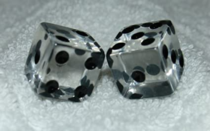 SILVER GLITTER TRANSPARENT DICE PAIR