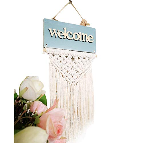 QEES Handmade Welcome Door Sign Wall Macrame Woven Fringe Wall Hanging 12'' L Bohemian Tapestry Home Decorative BOHO Chic Wedding Party Event Backdrop Decoration DS09 by QEES
