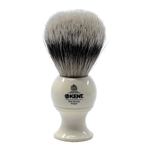 - Kent BK8 Traditional Medium Sized Pure Silver Tipped Badger Bristle Shaving Brush - Comes In Red Presentation Case
