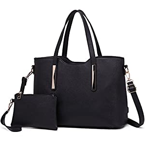 Miss Lulu Fashion Ladies Pu Saffiano Leather Top Handle Bags 2 Pieces Tote Shoulder Handbags for Women (Black)